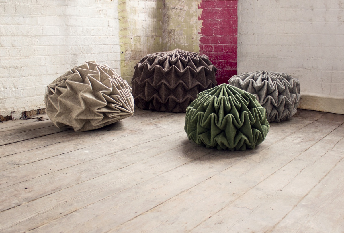 Folded structures such as that of the Unfolded Cones pouffe are right on trend.