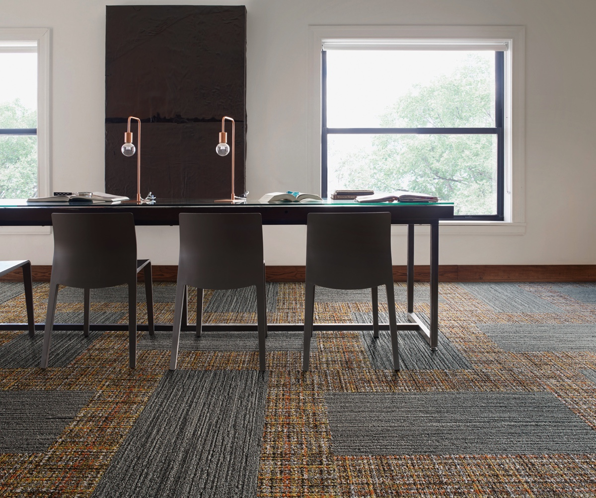 As with most Interface products, the new collection World Woven is made completely from recycled materials.